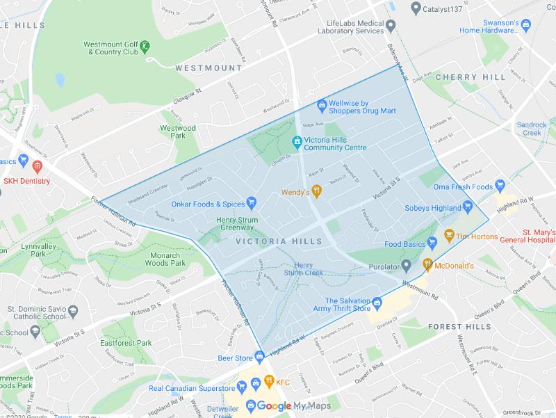 Victoria Hills map