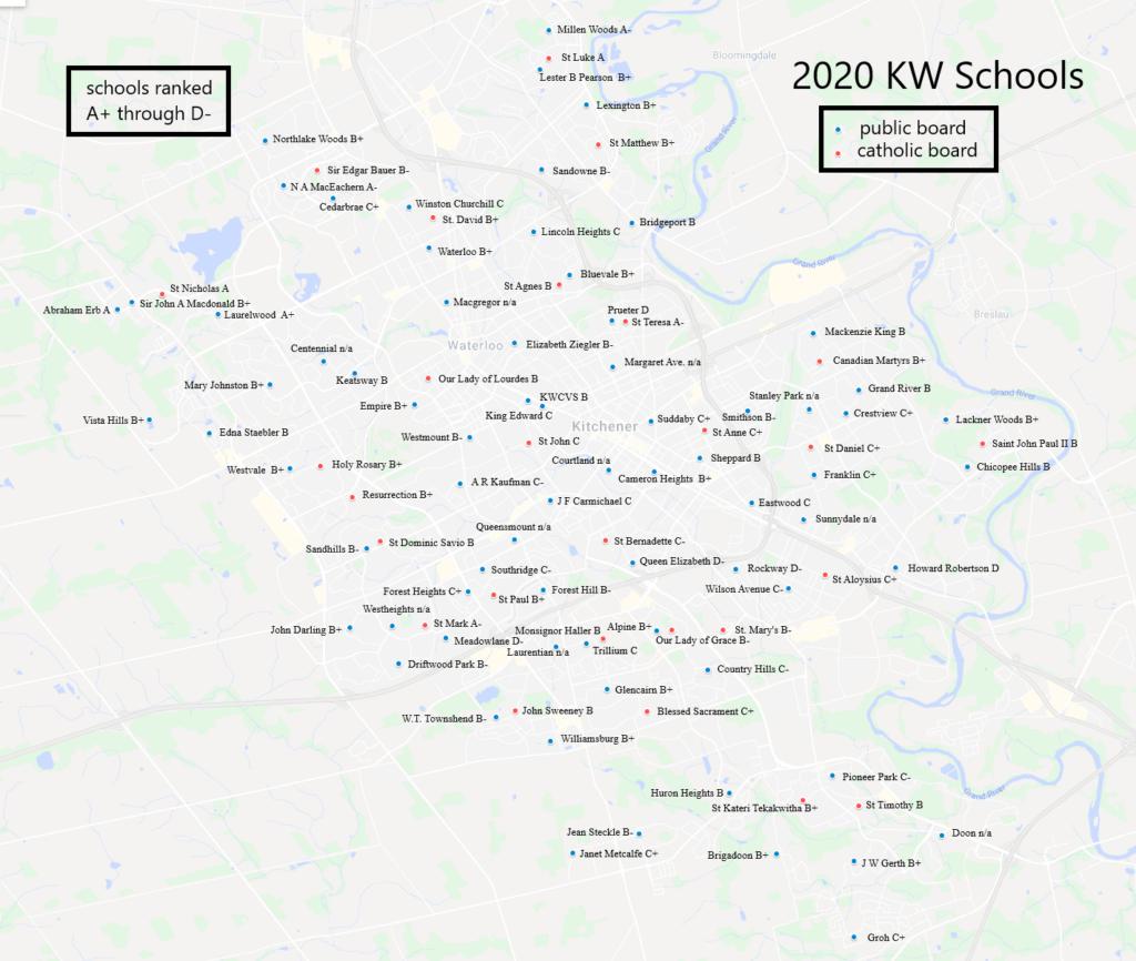 Kitchener Waterloo schools map